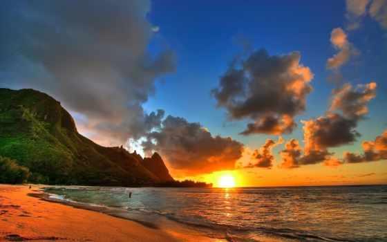 spiaggia, sfondi, tramonto, paesaggi, gratis, violetas, que, immagini, ди,