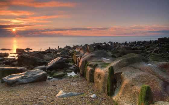 пляж, море, chemical, sun, seaham, рассвет, waves, камни, картинка, off,