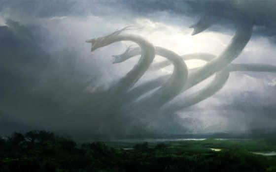 ужасы, стихий, гидра, облака, дымка,