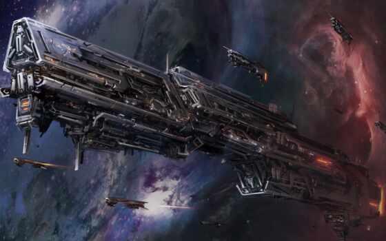 космос, звезды, корабль