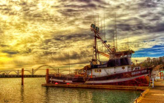 prichal, судно, more, zakat, катер, vehicles, рыбачкая, шхуна, пирс, гавань, туман,