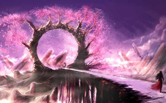 розовое, дерево, мост, девушка, арка, скалы, листья,