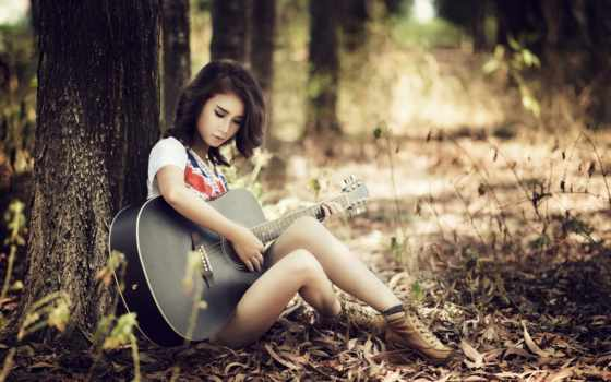 девушка, гитара, гитарой