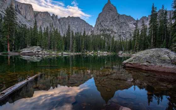 озеро, зеркало, mountains, trees, colorado, landscape, photos,