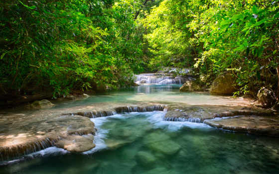 таиланд, водопады, река, зелёный, рисунки,