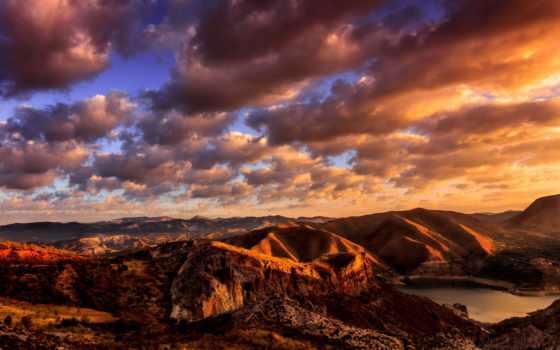 горы, закат, sun, oblaka, сша, утро, sierra, samsung, galaxy,