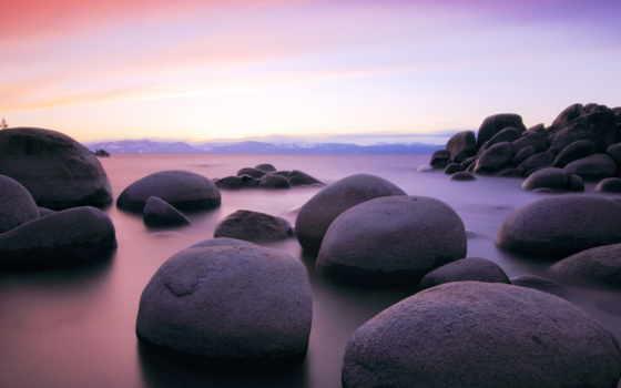 камни, большие, пейзажи -, море, берег, красивые, широкоформатные, омывающиеся, водой, пляжи,