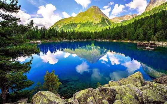 природа, озеро, горы, небо, landscape, природы, лес, камни, мира, trees,
