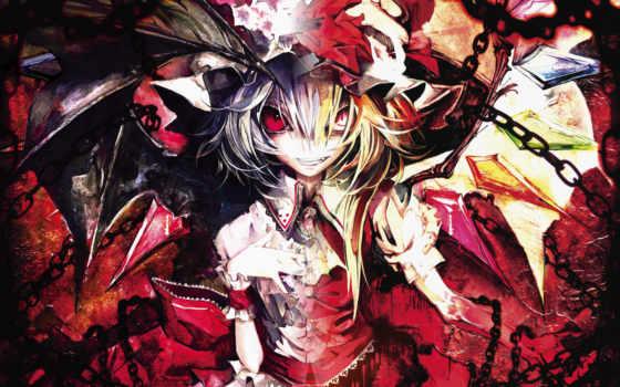 scarlet, anime, remilia, eyes, flandre, touhou, red, akira, wings, similar, blondes, hair, ribbons, banpai, colors, tags, изображение, orange, version,