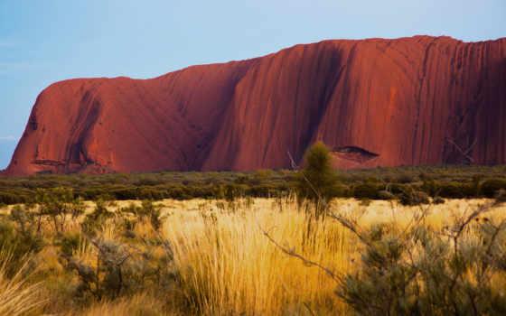 природа, австралия, пустыня, утро, рок, айерс, улуру,