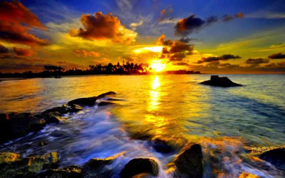 пейзажи, красивые, солнца