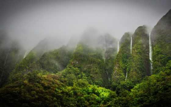 природа, hawaii, водопады, oahu, горы, jungle, highlands, водопад, tropics, картинка,