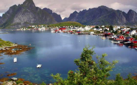 норвегия, norwegian, острова, лофотенские, деревня, around, reine, природа,