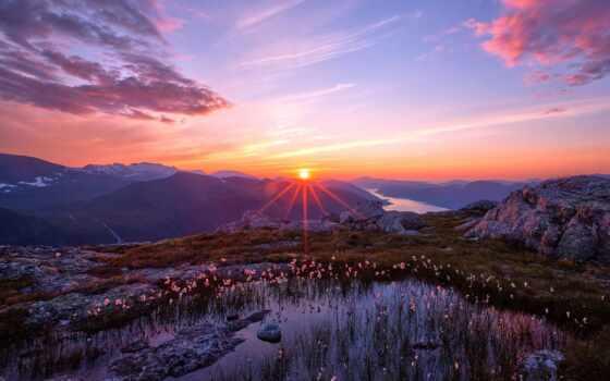 sun, природа, горы, небо, rising, landscape, закат, солнца, лес, норвегии, снег,