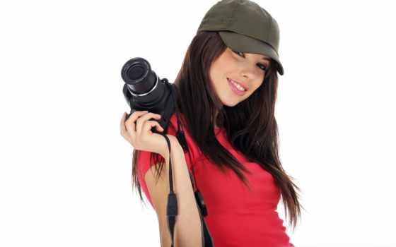 девушка, фотоаппаратом, красивая, images, улыбка, photos, настроение, stock, фотоаппарат, holding,