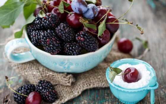 cherry, ягода, blackberry, слива, клубника, piala, white, makryi