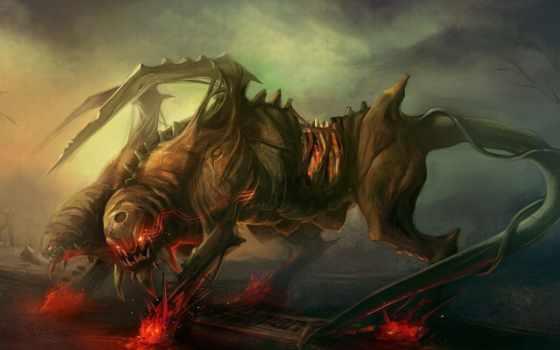 monster, горящие, шипы