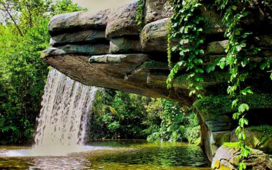 водопад, природа, совершенно