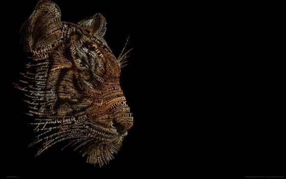 тигр, абстракция, black, морда, тигра, zhivotnye, креативные,