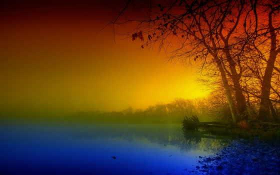 landscape, туман, природа, утро, пейзажи -, поле, trees, река, themes,