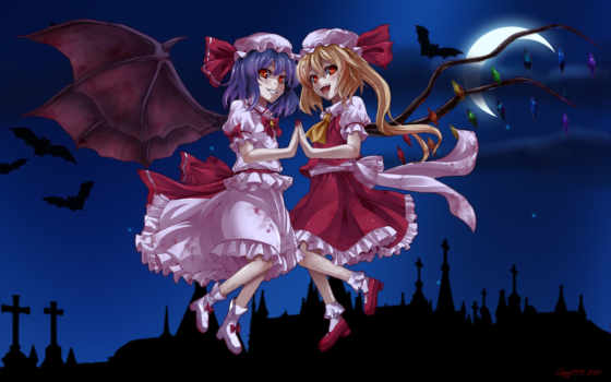 scarlet, touhou, hair, flandre, remilia, asu, hare, аниме, ½project, vampire, girls, blonde, blood, ponytail, purple, red,