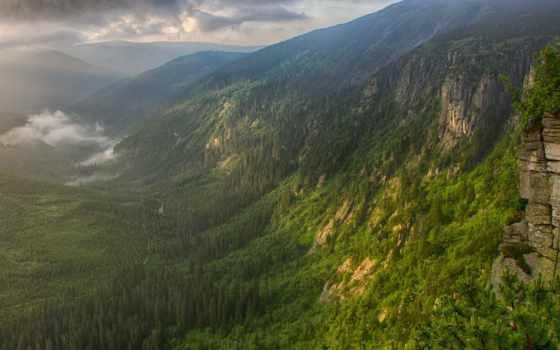 утро, долина, река, туман, горы,