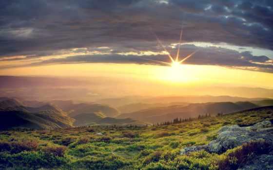 природа, со, страница, sun, закат, гор, заставки, разных, встает,