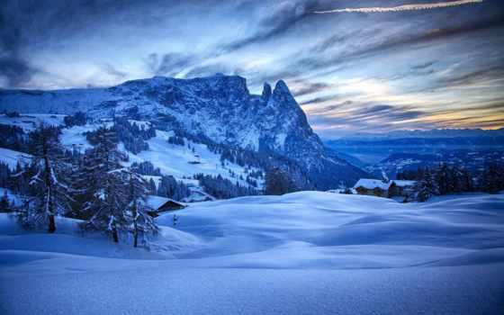 invierno, nieve, rboles, casas, montañas, fondos, azul, pantalla, paisaje,