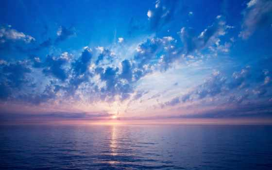 oblaka, море, со, небо, морем, красивое, sun, рассвет,