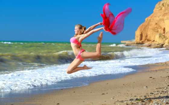 гимнастика, художественная, алессандра, гимнастка, бикини, спорт, девушка, море,