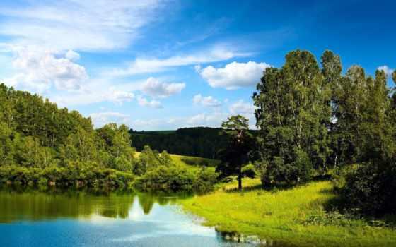 небо, лес, голубое, oblaka, trees, blue, озеро, зеркало, landscape, горы,