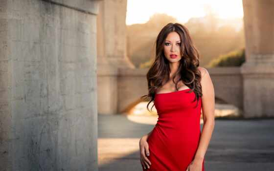 девушка, красивый, платье, коллекция, favourite, red, женщина, card, волосы
