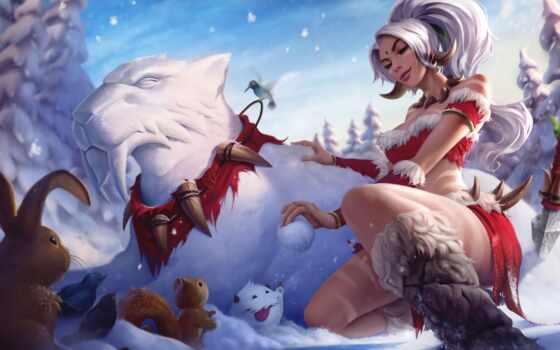 сказание, league, nidat, игра, nidalee, снежный, арта, snezhok, krolik, новый, праздник