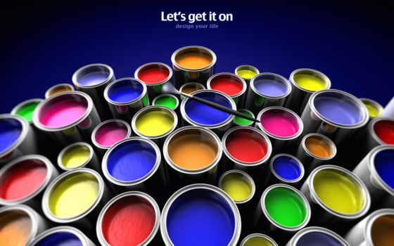 краски, кнопкой