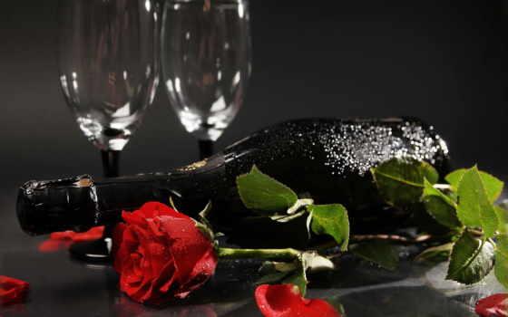 розы, вино, цветы, шампанское, бокалы, бутылка,