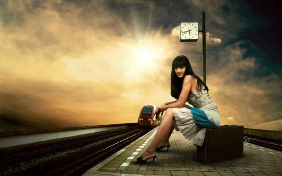 девушка, поезд, stop, чемодан, станция, часы,