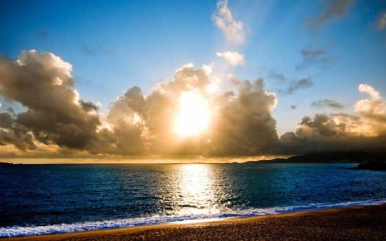пляж, солнечный, море, sun, тучи,