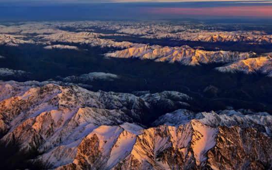 горы, взгляд, закат, снег, окна, информации, может, вершины,