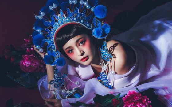 asian, стиль, макияж, тематика, illustration, free, взгляд, цветы, азиатка, смотреть