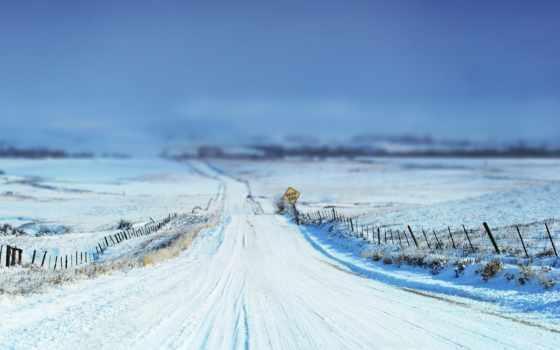 дорога, зимняя, поле