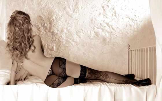 девушка, блондинка, нижнее, бельё, кружева, чулки, прозрачных
