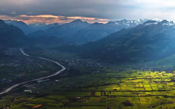 небо, горы, долина