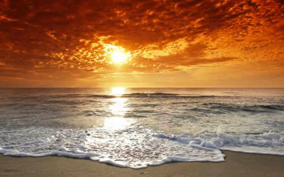 закат, море, берег, water, пляж, ocean, волны, высоком, качестве, базе,