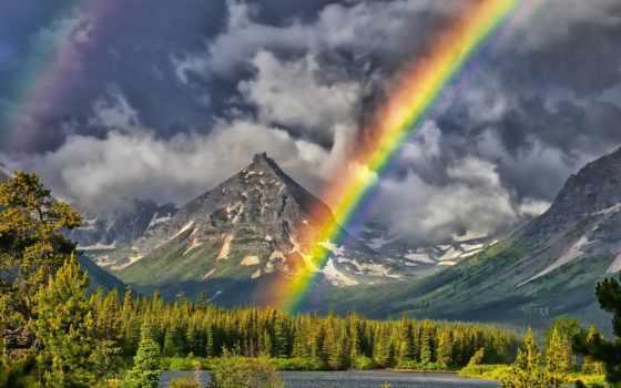 радуга, горы, озеро