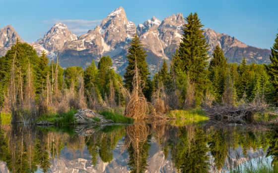 park, national, мб, скинали, озера, горы, титон, banff, grand,