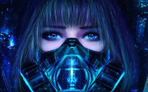 cyberpunk, девушка, art, маска, взгляд, свет, респиратор,