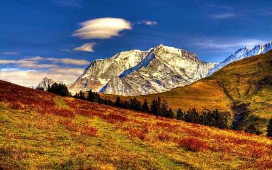 природа, горы, landscape, небо, oblaka, трава, осень, луга,