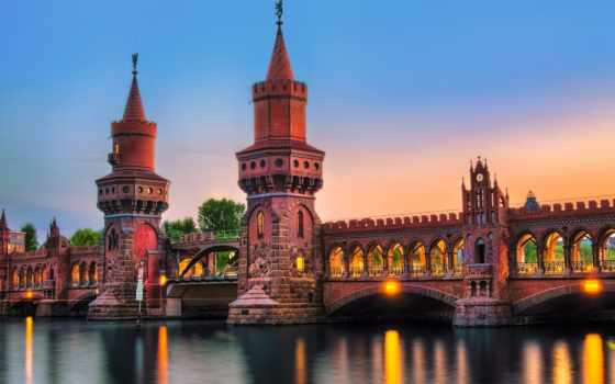 мост, обербаумбрюкке, город, berlin, река, вечер, oberbaumbrücke, german, подсветка, освещение,
