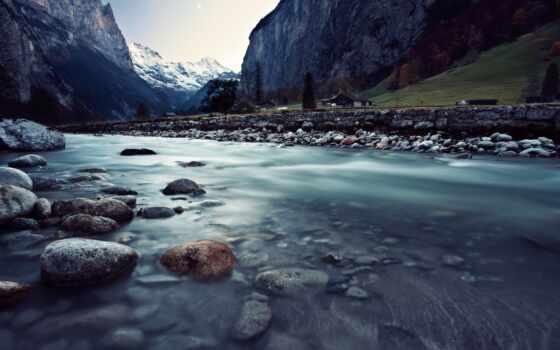 горы, швейцария, река