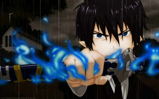 anime, exorcist, blue, rin,